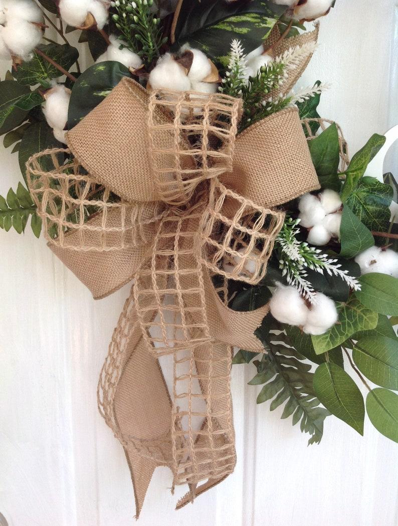 Cotton Wreath For Front Door Initial Farmhouse Wreath For Front Door Monogram Wreath Personalized Wreath Cotton