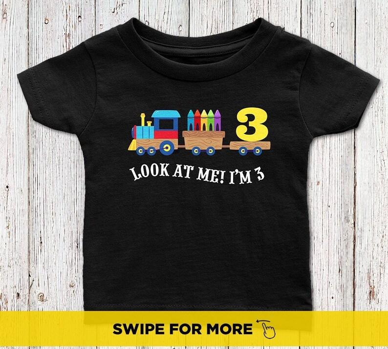 Three Year Old Birthday Shirts Boy Train Shirt 3rd