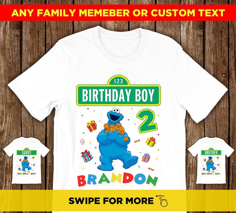 228762883 Cookie Monster 1st Birthday Shirt Sesame Street Birthday Shirt | Etsy