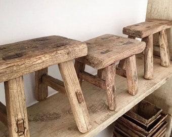 Antique Stool - Milking Stool - Rustic Farmhouse Stool - Wooden Stool - Primitive Step Stool - Wood Stool - Small Old Stool - Rustic Decor