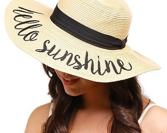 4b4d3700f8e Straw Beach Hat Embroidered Saying Phrase   Women or Child   Mommy and Me    Hello Sunshine   Always On Vacay   Out of Office   Bon Voyage