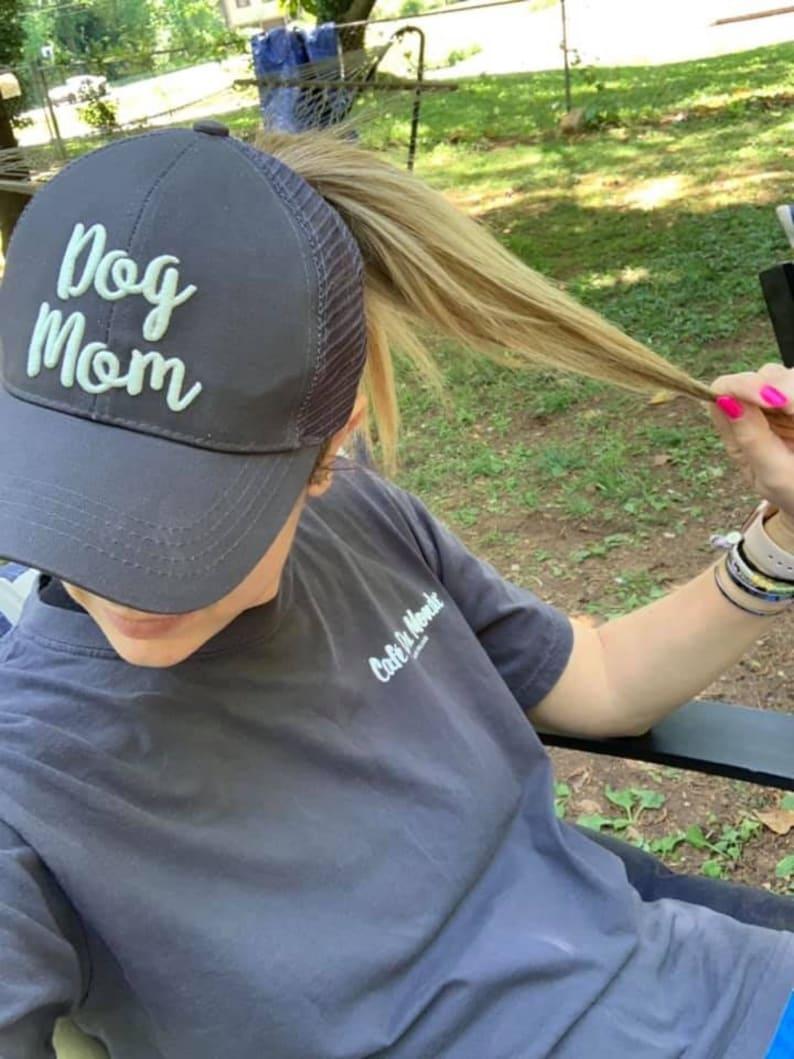 b6484c7ca Dog Mom or Dad Embroidered Hat / Ponytail / Distressed / Mesh Back Trucker  Baseball Cap / Adjustable / Cotton / Paw Print / Choose Color