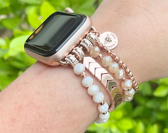 Beaded Watch Band / Compatible with Apple / 38mm 40mm / Arrows / Smart Watch Stretch Bracelet / Choose Color / Silver Gold Rose Gold / Gift