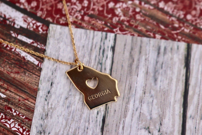 Home Is Where the Heart Is 14K Gold Dipped Jewelry Necklace Earring Set  Engraved  State  Southern  GRITS  Simply Southern  Heart