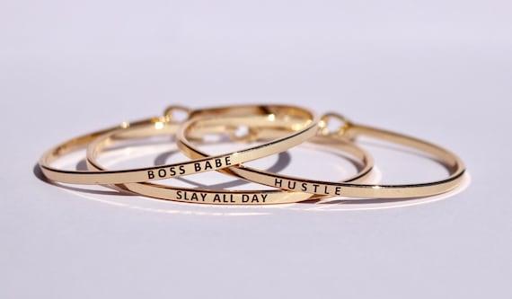 Boss Babe Gold Engraved Bangle Bar Necklace / Hustle / Slay