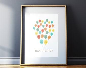 Personalized Family Tree Art - Balloons
