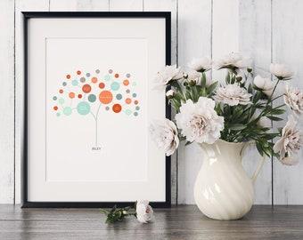 Personalized Family Tree Art - Modern Tree