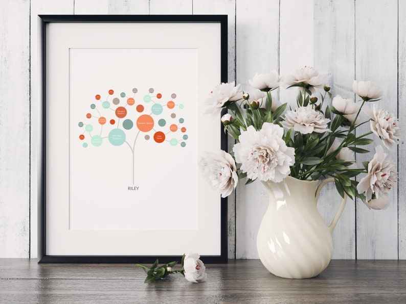 Personalized Family Tree Art  Modern Tree image 0