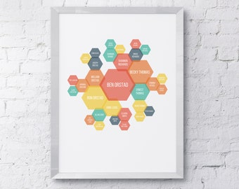 Personalized Family Tree Art - Hexagons