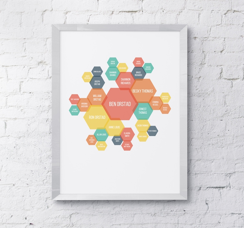 Personalized Family Tree Art  Hexagons image 0
