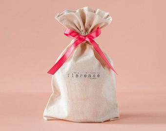 Gift Bag with Free Personalized Name and Free Ribbon of your choice, 100% Cotton Pouch