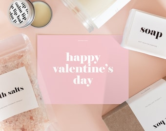 Gift Box for Valentin's Day - Bath Salts, Natural Soap, Lip Balm and 8oz Wood Wick Soy Candle with Custom Scent, Minimalist Edition