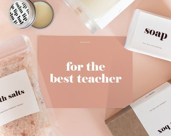 Gift Box for a Teacher - Bath Salts, Natural Soap, Lip Balm and 8oz Wood Wick Soy Candle with Custom Scent, Minimalist Edition