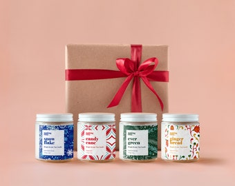 Gift Box for Christmas - 4 Festive 4oz Soy Candle, Iced Vanilla Woods, Peppermint, Fresh Pin Needles, Spices & Sugar