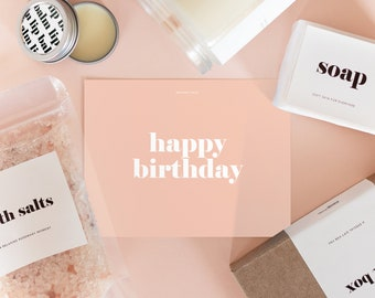 Gift Box for a Birthday - Bath Salts, Natural Soap, Lip Balm and 8oz Wood Wick Soy Candle with Custom Scent, Minimalist Edition