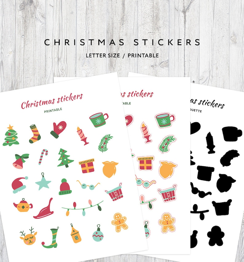 photo regarding Printable Christmas Stickers named Printable Xmas Stickers, Ornamental Stickers, Planner Printable Stickers