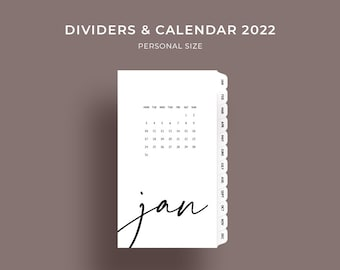 Planner dividers calendar 2022, printable monthly dividers