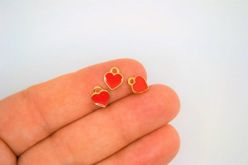 Heart Charm Bulk TINY Heart Charm RED heart charms Bulk Heart Charms For Earring Heart Charms For Bracelet Little Girl/'s Heart Charm