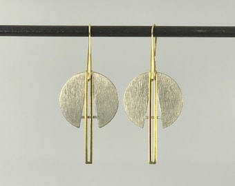 Silver Gold Geometric Statement Earrings ** plus Free Bonus Pairing Studs **