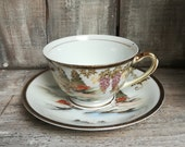 Kutani Japanese Hand Painted China, Mt. Fuji and Wisteria Patterned Tea Cup and Saucer Set, c. 1970 39 s