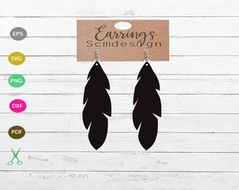 Feather Earring Svg Etsy