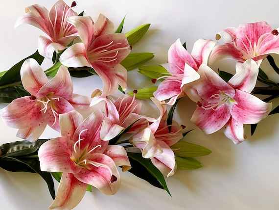 Artificial Lilies Fake Real Touch Lily Long Stem Stargazer Etsy