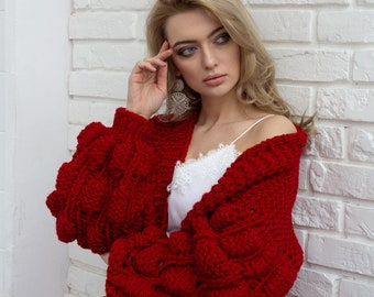 c8510a698387 Red crochet cardigan Red kimono jacket Red bomber jacket Oversized sweater  Red chunky cardigan Red knitted sweater Red cardigan women