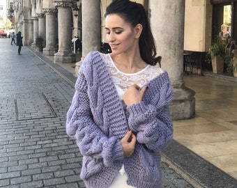 cc91d7d06e Chunky Knit Sweater.Cable Knit Sweater. Knitted sweater.Wool Sweater. Knit  Cardigan.Oversize cardigan. Lavender Cardigan