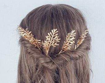 Gold leaf hair pins boho bridal fern clip foliage greenery eucalyptus wedding hair slide slider comb headpiece