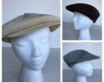 9f193ffd 1970s Kangol hats; beige, dark brown, and grey; 7100 Kangol tropic hats; vintage  newsboy caps