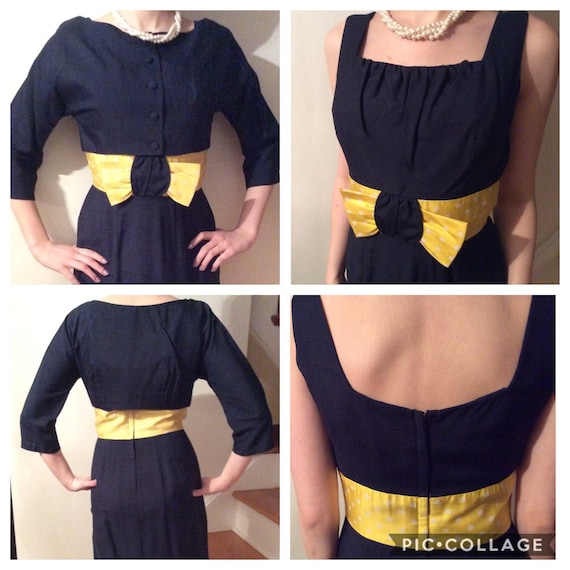 1950s sleeveless navy and yellow cocktail dress wi