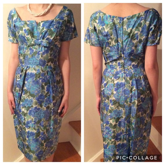 1950s floral cocktail dress; blue and green floral