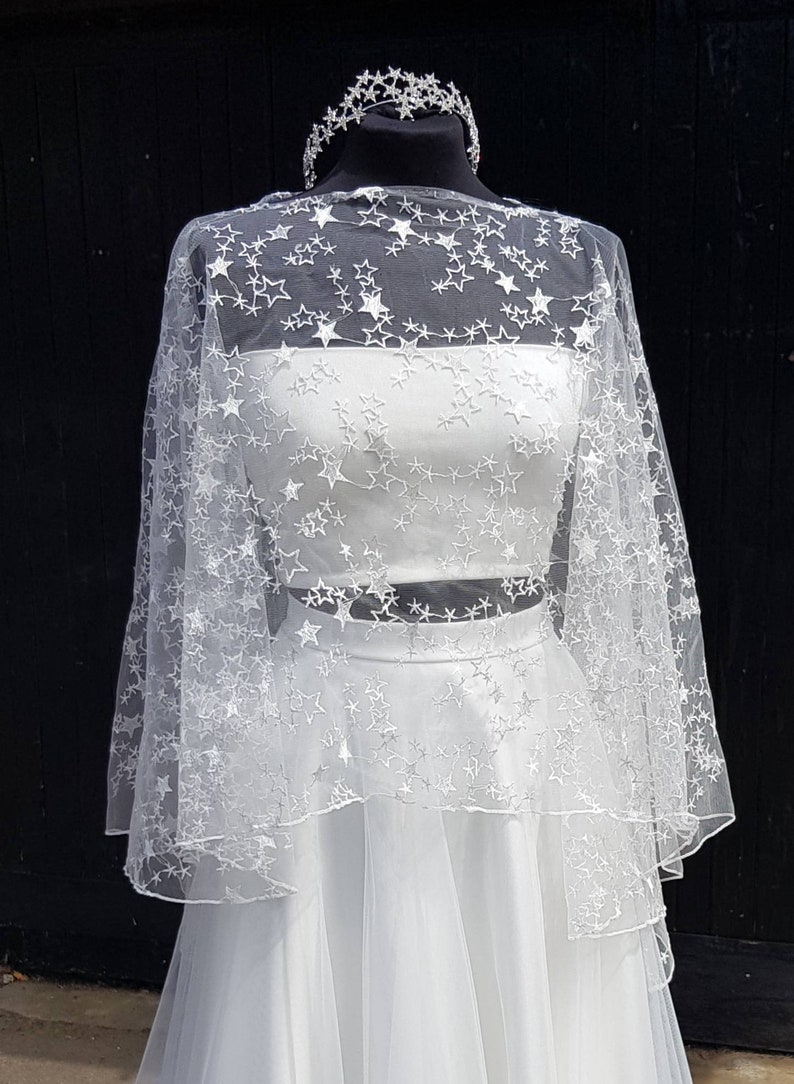 Ivory Star top bridal topper  star lace shrug  star lace image 0