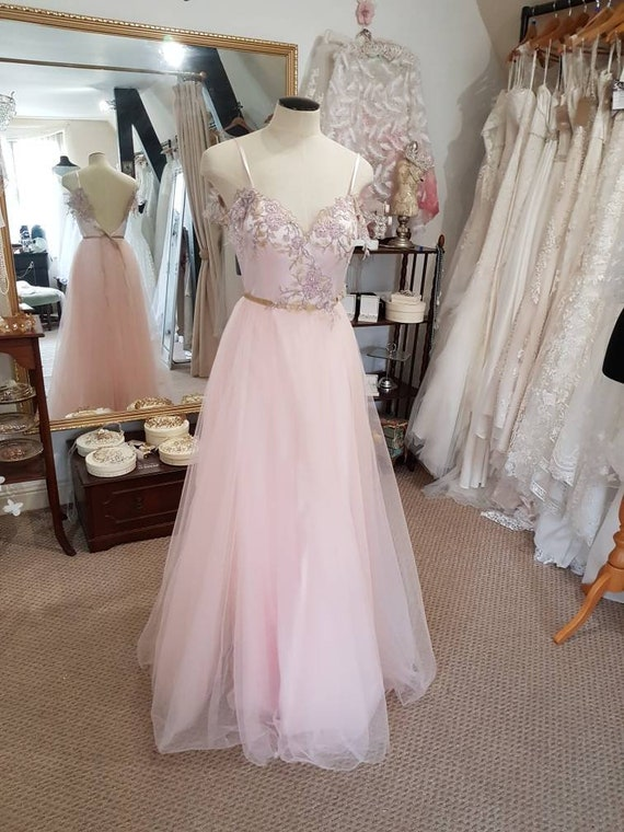 Size 10 Blush Pink Wedding Dress Pink Tulle Embroidered Lace Etsy