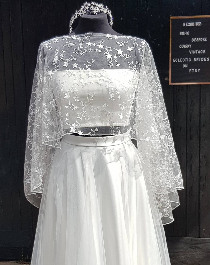 Ivory Star top bridal topper  star lace shrug  star lace Short at front