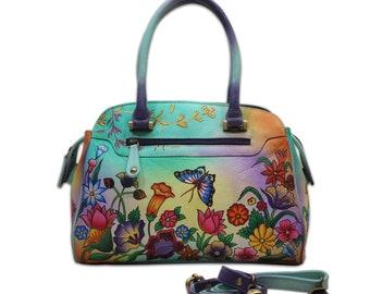 Handmade Hand Painted Leather Shoulder Bag Women Designer Shoulder Bag  Floral Designer Messenger Bag Vanity Purse For Women ad5c9d3028