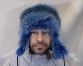 7f0a850d men fur hat/women fur hat/Fur Trapper Hat/blue fur hat/ushanka hat/real fur  hat/fur accessories/handmade hat/russian hat/fur gift/blue fox