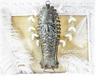 Fish Shape Tinplate Gründerzeit Antique Collector's Item Pies Shape Decoration Vintage Shabby Pudding Mold Antique