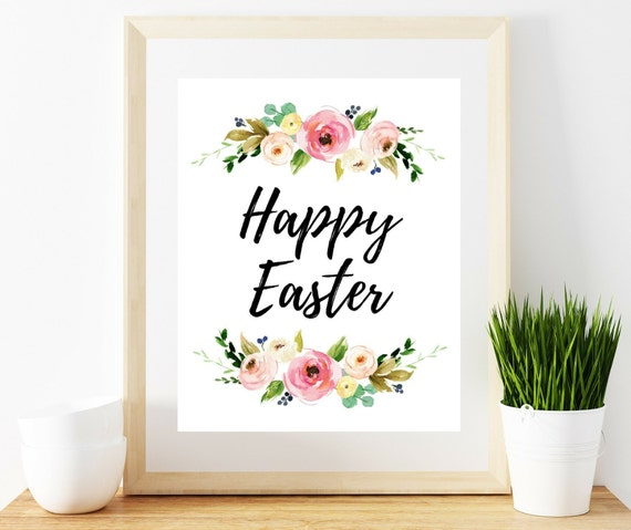 image about Happy Easter Sign Printable titled Content Easter Indication, printable poster, printable quotation, quick down load, pdf, jpeg
