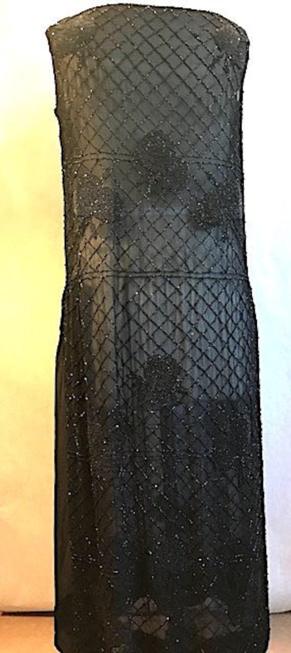 Late 1920's Sheer Black Beaded Dress