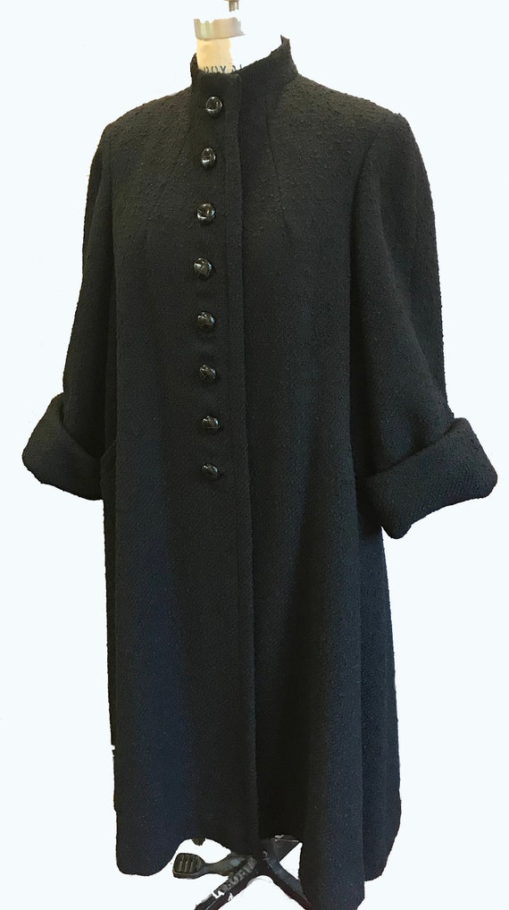 Gorgeous Black Wool Bouclé Winter Coat
