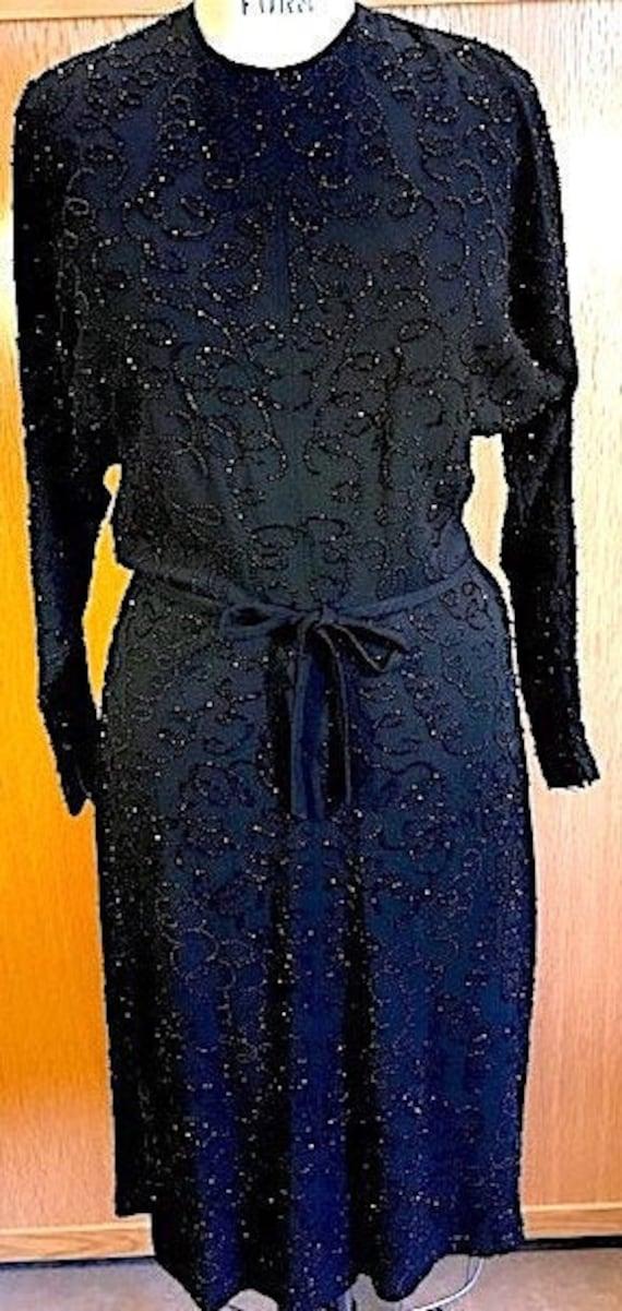 Black Beaded Crepe Dress