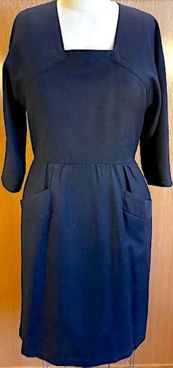 Adele Simpson Navy Wool Dress