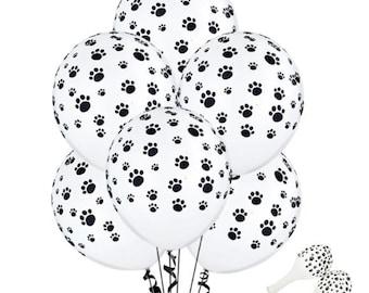 12 PACK Paw Print Balloons, Dog Party, Birthday Party Balloons Paw Patrol Decor, Black Paw White Balloon Dog Paw balloons, Animal paw