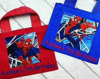 6 Personalised Spiderman Fold Over Cards /& Bag Birthday Party Favours