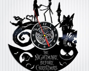 Nightmare Before Christmas Vinyl Wall Clock Jack And Sally Disney Skellington Gift Halloween Art Home Decor