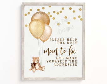 TGRBS01 8x10 Help the Busy Mom to Be Instant Download Blue and Pink Teddy Bear Addressee Sign Please Make Yourself the Addressee Sign