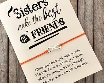 Sister bracelet, Sister gift, Wish bracelet, Sister best friend, Gift for sister, Sister birthday, Sister BFF, Little sister gift,