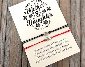 Mother daughter gift,  matching bracelet set, Wish bracelet, Compass bracelet, Gift for mother, Gift for daughter, Long distance gift