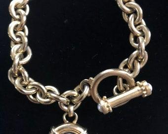 """Vintage Designer Roxanne Assoulin Coin Charm Toggle Bracelet 7.5"""""""